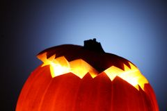 Jack-O-Lantern. Glowing Jack-O-Lantern detail, close-up Royalty Free Stock Photos