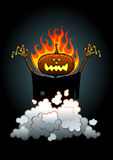 Jack O'Lantern. Halloween hero appearing from a smoke vector illustration