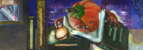 Jack-o-lantern. Jack reads children books in the closed library Royalty Free Stock Photography