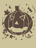 Jack O'Lantern. Brown jack o'lantern with candy and stars Royalty Free Stock Photo