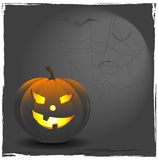 Jack o' lantern. Halloween-background with pumpkin, spiderweb and flying bats Royalty Free Stock Photography