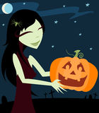 Jack-O-Lantern. Gothy girl with a spider in her hair carries a happy halloween Jack-O-Lantern - starry night sky and graves in the background Vector Illustration