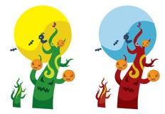 Free Jack-o -lantern And Monster Tree Royalty Free Stock Image - 11848116