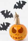 Jack O`Lantern and Bats Royalty Free Stock Photography