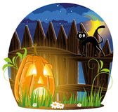 Jack o Lantern and black cat Stock Image