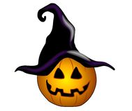 Jack-O-Lantern Black Witch Hat Royalty Free Stock Photo