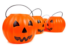 Jack-o-lantern buckets stacked up Stock Images