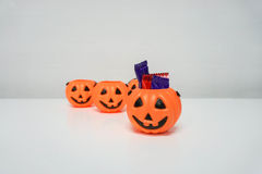 Jack-O-Lantern with candies royalty free stock photo