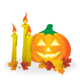 Jack O'Lantern with candles Stock Photos