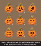 Jack O Lantern Cartoon - 9 Funny n Goof Expressions Set Royalty Free Stock Photography