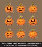 Jack O Lantern Cartoon - 9 Mean n Naughty Expressions Set Stock Photos