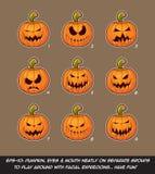 Jack O Lantern Cartoon - 9 Scary Expressions Set Royalty Free Stock Images