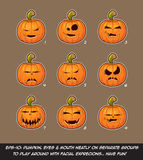 Jack O Lantern Cartoon - 9 Vampire Expressions Set Stock Photography