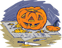 Jack 'O Lantern Carving Royalty Free Stock Photo
