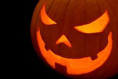 Jack-o'-lantern closeup on black Royalty Free Stock Image