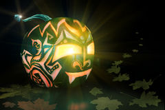 Jack o'Lantern cut from pumpkin on black background Stock Photos