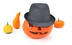Jack O'lantern die een hoed dragen Stock Afbeelding