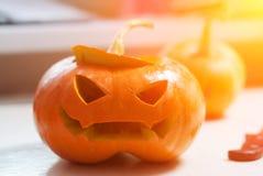 Jack o lantern DIY. spooky face in the pumpkin. The symbol of Halloween Stock Photos