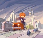 Jack O' Lantern en zijn oranje auto. Stock Afbeeldingen