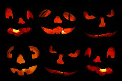 Jack o'lantern faces fill the frame Royalty Free Stock Images