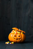 Jack o lantern filled with candy corn Royalty Free Stock Photography
