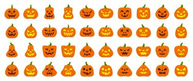 Jack O Lantern simple flat color icons vector set. Jack-O-Lantern flat icons set Web sign kit pumpkin face Halloween pictogram collection angry eyes, creepy stock illustration
