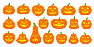 Jack O Lantern simple flat color icons vector set royalty free illustration