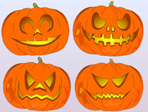 Jack-o'-lantern in four versions, different emotions, Halloween Royalty Free Stock Images