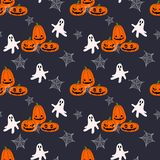 Jack-o-lantern and ghost seamless pattern. Stock Photos