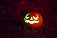Halloween Jack O' Lantern Glowing Green Stock Photos