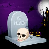 Jack-o-lantern on grave in Halloween night Royalty Free Stock Photography