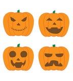 JACK-O-LANTERN 2018 Halloween Celebration Set of four vector pumpkins with different faces. stock illustration