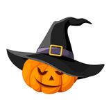Jack-O-Lantern. Halloween pumpkin with black witch Royalty Free Stock Photography