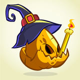 Jack-O-Lantern. Halloween pumpkin head in blue witch hat holding candle. Vector illustration  on dark background Royalty Free Stock Images