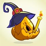 Jack-O-Lantern. Halloween pumpkin head in blue witch hat holding candle. Vector illustration on dark background.  royalty free illustration