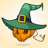 Jack-O-Lantern. Halloween pumpkin head in witch hat. Vector character  Stock Photo