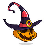 Jack-O-Lantern. Halloween pumpkin with smiling expression in witch hat. Vector illustration  on white background Stock Image