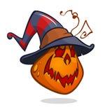Jack-O-Lantern. Halloween pumpkin in witch hat. Vector illustration.  royalty free illustration