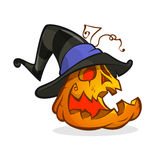Jack-O-Lantern. Halloween pumpkin in witch hat. Vector illustration  Stock Image
