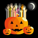 Jack-o'-lantern and hands Stock Images
