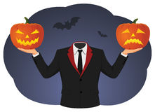 Jack-o-lantern. Headless man is holding two jack-o-lantern pumpkins. Halloween comedy and tragedy theatrical masks Royalty Free Stock Photography