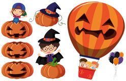Jack-o-lantern and kids in costume Stock Image