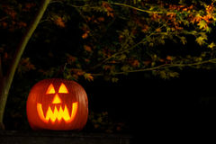 Jack-o-lantern at night Royalty Free Stock Images