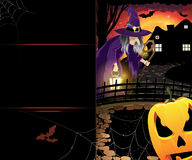Jack O'Lantern and old witch Stock Images