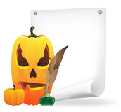 Jack O Lantern, paper and  feather Royalty Free Stock Photography