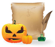 Jack O Lantern, paper and  feather Royalty Free Stock Photos