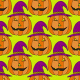 Jack-O-Lantern pumpkin background. Vector illustration. Halloween seamless pattern for wrapping paper. Stock Images