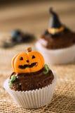 Jack O'lantern Pumpkin cupcake Stock Image