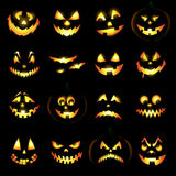 Jack o lantern pumpkin faces. Glowing on black background vector illustration