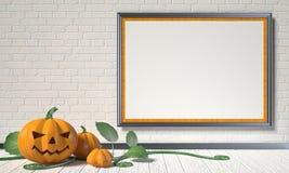 Jack O Lantern pumpkin, green leafs and mock up blank poster  Stock Photos